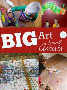 Awesome list of BIG art projects for little kids!  This is the perfect time of year to take a big project outside!