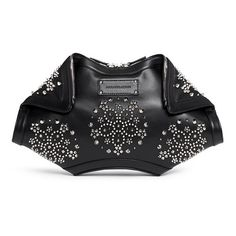Alexander Mcqueen 'De Manta' floral stud leather clutch ($1,735) ❤ liked on Polyvore featuring bags, handbags, clutches, black, zipper purse, hand bags, alexander mcqueen clutches, floral handbags and man bag