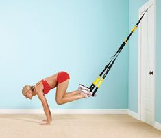 Get Out Of the Gym Workouts: TRX on a Tree. These TRX bands are light, portable, and can attach to nearly anything. Try it on a tree trunk or a large tree branch outside. #SelfMagazine