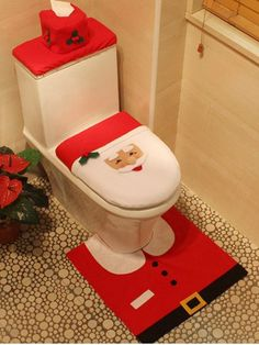 GET $50 NOW | Join RoseGal: Get YOUR $50 NOW!http://www.rosegal.com/christmas-decorations/3pcs-christmas-santa-toilet-decoration-863347.html?seid=7754273rg863347