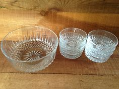 Crystal Glass Bowl & Serving Dishes for Six (6) ~ Dessert, Fruit, Salad or Punch Dishes ~ Seven (7) Piece Clear Cut Glassware Serving Set;  This gorgeous vintage glass-ware is by arcoroc USA from the 1960s /1970s.  The smaller bowls have a #11 on them,  There is a number on the large bowl, but I'm not sure if it is a 33 or a 55.  I could not pass up this super bargain!