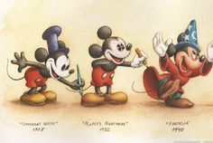 MICKEY THROUGH THE YEARS: One of my favorite things about working at Disney was learning about the history and legacy of the characters, and reinventing them for today with integrity, reverence and heart. Walt Disney, Disney Pixar, Disney Micky Maus, Deco Disney, Disney And Dreamworks, Disney Art, Disney Characters, Mickey Mouse And Friends, Mickey Minnie Mouse