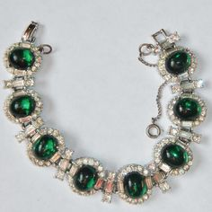 HATTIE CARNEGIE Emerald Green Molded Glass, Rhinestone Bracelet