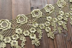 Gold Lace Trim Flowers Emboridered Lace Baroque Cascading Lace Trim Antique Lace 6.29 Inches Wide 1 Yard Wedding Dress Costumes Supplies    Graceful and Gorgeous!    Width: 6.29(16cm)    This lisitng is for 1 yard. If you order more, I will ship in 1 piece. The longest piece is about 10 yards.    All the lace are perfect for lingerie, bra, dresses, dolls, bridal veil, altered art, couture, costume, jewelry design, pillowcase, home decor and other projects you could imagine. If you like it…