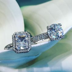 Stunning emerald cut and round brilliant engagement rings. Available at Alson Jewelers. Beautiful Engagement Rings, Beautiful Rings, Diamond Engagement Rings, Diamond Rings, Wedding Ring Styles, Wedding Ring Bands, Wedding Jewelry, Wedding Ideas, Ring Verlobung