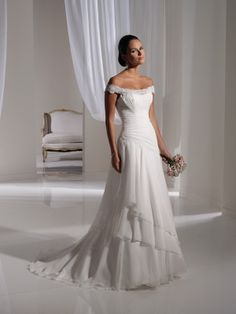 A-line Off-the-shoulder Neckline Chapel Train Chiffon Lace Wedding Dress- I think this is for sure my dress! :)