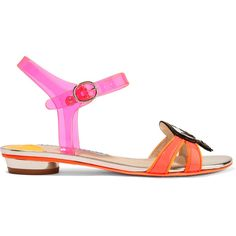 Sophia Webster Wifey For Lifey vinyl and patent-leather sandals (665 AUD) ❤ liked on Polyvore featuring shoes, sandals, pink, pink sandals, patent leather sandals, pink flats, neon pink sandals and strappy sandals