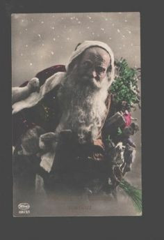 097363 SANTA CLAUS w/ Toys DOLLS Vintage PHOTO Tinted Weco PC