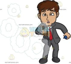 A Businessman Holding A Vaporizer And Exhaling Vape Rings:   A man with dark brown hair wearing a gray suit white dress shirt red necktie black shoes exhales a fluff of vapor rings