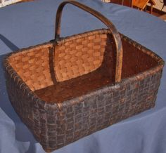 EXCEPTIONAL 19TH C SPLINT HANDLED GATHERING BASKET IN EARLY DARK BLUE PAINT | eBay sold 335.00