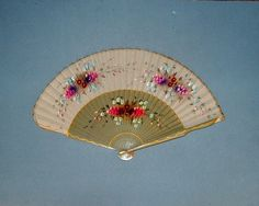 Vintage 1950s Grey Wooden Hand Fan Hand Painted by Biminicrickets, $35.00