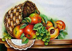 Pintura em Tecido   Aula Grátis   Cesta com Frutas   Rosas com Pássaros e Stencil   Loja da Márcia