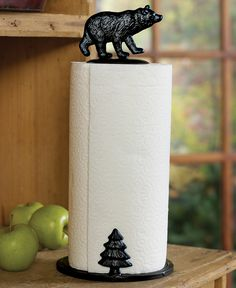 Bear Paper Towel Holder   With A Bear And Tree Design, The Black Finished  Metal Bear Paper Towel Holder Adds Rustic Charm To Your Kitchen.