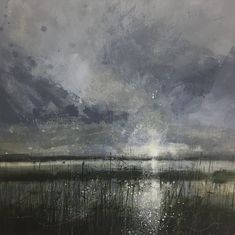 Some of his paintings are reminiscent of Michael Garret's stuff. He paints the flat lands too which is interesting. Collage Landscape, Landscape Drawings, Abstract Landscape Painting, Seascape Paintings, Watercolor Landscape, Abstract Watercolor, Landscape Paintings, Abstract Art, Art Studio Storage