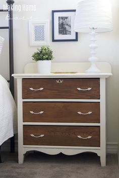 Nightstand Makeover Two Toned Painted Chest… Nightstand Plans, White Nightstand, Dresser As Nightstand, Cheap Nightstand, Nightstands, Repurposed Furniture, Shabby Chic Furniture, Cool Furniture, Painted Furniture