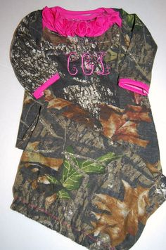 Realtree.  Mossy Oak . Camo Infant Gown. Baby by Maxinessewnsew
