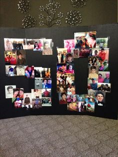 50th Birthday Pic Collage. Great eye catching centerpiece for gift table. Created by yours truly.