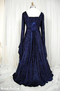 Midnight blue velvet medieval gothic gown plus - All Dresses