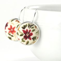 Flowers Dangle Earrings, Autumn, Fall, Silver Toned, Leverback Earrings, Terracotta, Brown, Floral Fabric Covered Buttons, Fall Jewelry