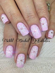 Pink snowflake nail art. Swarovski crystals. Matte pink. Hand painted.