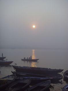 Break of dawn - at the banks of the river Varanasi - Uttar Pradesh, North India