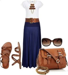 Outfit Idea : Navy maxi skirt with brown wooden accessories