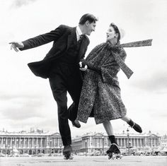 Couple roller skating in 1950s Paris, photographed by Richard Avedon. No one has ever embraced this sort of fantasy-fun quite like Richard Avedon and editor Diana Vreeland in their Vogue heyday — so inspiring! RIP, you chic working-buddies.