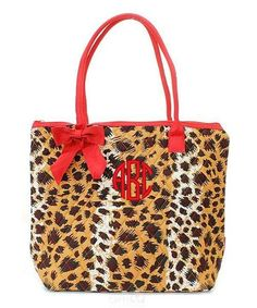 """Personalized Leopard Print Brown Red 16"""" Quilted Tote Bag - Gifts Happen Here - 1"""