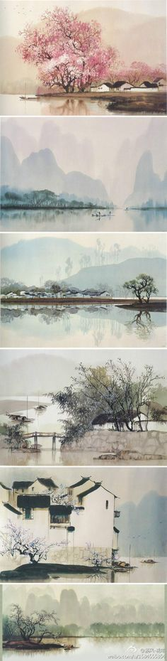 watercolor paintings of China, by professor He Zhen Qiang from school of fine arts, Qi Hua University
