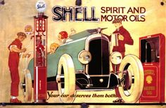Ad of Shell - 'Spirit and motor oils' - vintage gas station