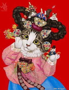 0번째 이미지 Korean Art, Asian Art, Korean Traditional Dress, Aesthetic Pastel Wallpaper, Here Kitty Kitty, Chinese Art, Cat Art, Art Education, Art Projects