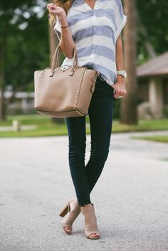 Casual striped top, taupe booties