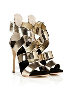 Giuseppe Zanotti - Platinum Leather Wafer Platform Sandals