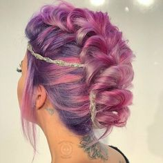 Beauty: Fantasy Unicorn Purple Violet Red Cherry Pink Bright Hair Colour Color Coloured Colored Fire Style curls haircut lilac lavender short long mermaid blue green teal orange hippy boho ombré woman lady pretty selfie style fade makeup grey white silver trend trending Pulp Riot