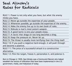 """Saul Alinsky's """"Rules for Radicals""""  The playbook. Know how you are being manipulated."""