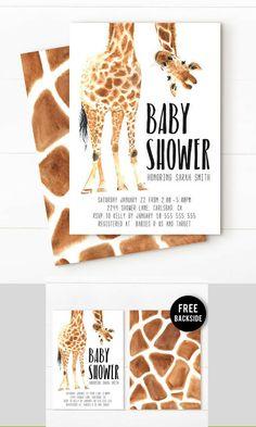 Giraffe baby shower invitations. So cute. #baby #invitations #download #digital