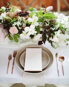 A Scenic, Nature-Inspired Wedding in Oregon | Martha Stewart Weddings - The bride had seen the Casa de Perrin place settings on Instagram and loved the rose gold flatware and French gray plates from the Heath collection. Her wedding planner, Sunna Yassin used them as the foundation to build the table setting. Printed menus with guests' names at the top added a personalized touch while the varying centerpieces subtly brought the table layout together.