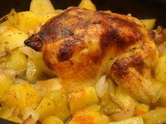 Μαγειρική με πάθος : ΚΟΤΟΠΟΥΛΟ ΜΕ ΠΑΤΑΤΕΣ ΣΤΗ ΓΑΣΤΡΑ Meat Recipes, Turkey, Chicken, Food, Turkey Country, Essen, Meals, Yemek, Eten