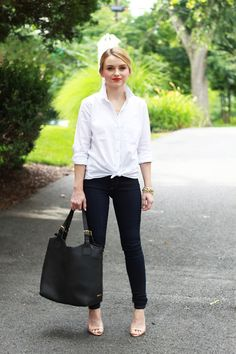 20 Ways to Style the Classic White Button-Down  theeverygirl White Button  Down Outfit 89464d8d7