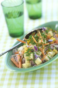 1 lag tynde risnudler 150 g gulerødder 2 spsk finthakket rødløg 3 dl ananas i terninger 2 dl agurk i terninger 1 dl mangofrugt i terninger ½ dl hakkede, saltede jordnødder 1 bdt purløg dressing 2 t…