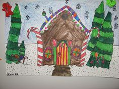 """2nd graders read the fable of """"Hansel and Gretel."""" They thought about the art career of architectureand got to be the designer of a Candy House like the one in the fable. All of the elements in their candy house design were to be made of some kind of edible treat!"""