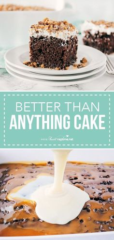 This better than anything cake has a rich chocolate base and is infused with caramel and sweetened condensed milk. To top it all off, you'll add some whipped topping and toffee bits. So delicious and such an amazing chocolate poke cake recipe! #cake #chocolate #chocolatecake #dessert #dessertrecipes #easyrecipe #sweet #sweettreats #recipe #iheartnaptime