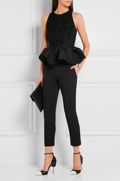 Black jacquard and mesh Concealed hook and zip fastening at back Fabric1: 60% viscose, 36% cotton, 4% linen; fabric2: 65% triacetate, 35% polyester; fabric3: 37% viscose, 32% cotton, 31% polyamide; lining: 72% acetate, 28% silk Dry clean Made in France