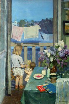 Children at the balcony by Krokhonyatkin, 1954 Russian Painting, Russian Art, Socialist Realism, Soviet Art, Foto Art, Art Moderne, Realism Art, Oeuvre D'art, Traditional Art
