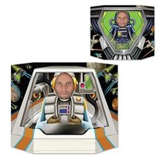 Pilot your own space shuttle or an alien aircraft with this photo prop. Just place your face in the perforated area and snap a picture!