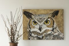 Up the wall creates custom artwork and wall murals. Artist Michelle Wenger is a mural painter toronto. She creates beautiful artwork and custom murals for your home, business or children. Wildlife Paintings, Art Paintings, Great Horned Owl, Room Themes, Beautiful Artwork, Plaster, Canvases, Acrylics, Wall Murals