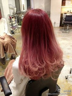 Ombre red to blonde long hair