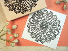 Lace Doily Rubber Stamp  Original Art by Blossom by BlossomStamps