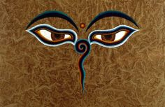 These are Buddha Eyes and they look out in the four directions to symbolize the omniscience (all-seeing) of a Buddha. The Buddha eyes are so prevalent throughout the country that they have become a symbol of Nepal itself. Between the Buddha's eyes where the nose would be is the Nepali character for the number 1, which symbolizes unity of all the things as well as the one way to reach enlightenment. Above this is a third eye, symbolizing the all-seeing wisdom of the Buddha.