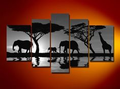 Hand-painted Wall of Black and White Picture Abstract Animal Canvas 5 Figure Sitting Room of Modern Home Decoration Canvas Art $41